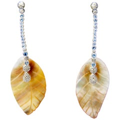Aquamarine and Diamond Earrings with Mother of Pearl Leafs Mounted in 18kt Gold