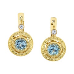 Aquamarine and Diamond Engraved 18 Karat Yellow Gold Earrings