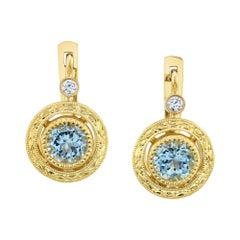 Round Aquamarine, Diamond, Yellow Gold Bezel, Lever Back Engraved Drop Earrings