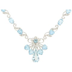 Aquamarine and Diamond Floral Necklace Set in 18 Karat White Gold