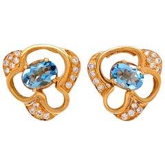 Aquamarine and Diamond Gold Cluster Earrings Fine Estate Jewelry