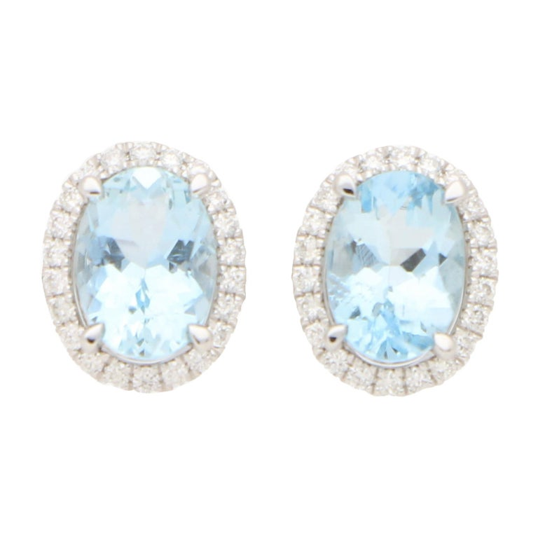 Aquamarine and Diamond Halo Stud Earrings Set in 18k White Gold For Sale