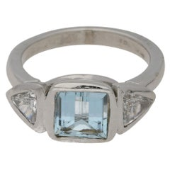 Aquamarine and Diamond Cocktail Engagement Ring in 18k White Gold