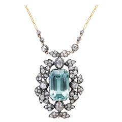 Aquamarine and Diamond Necklace, circa 1880