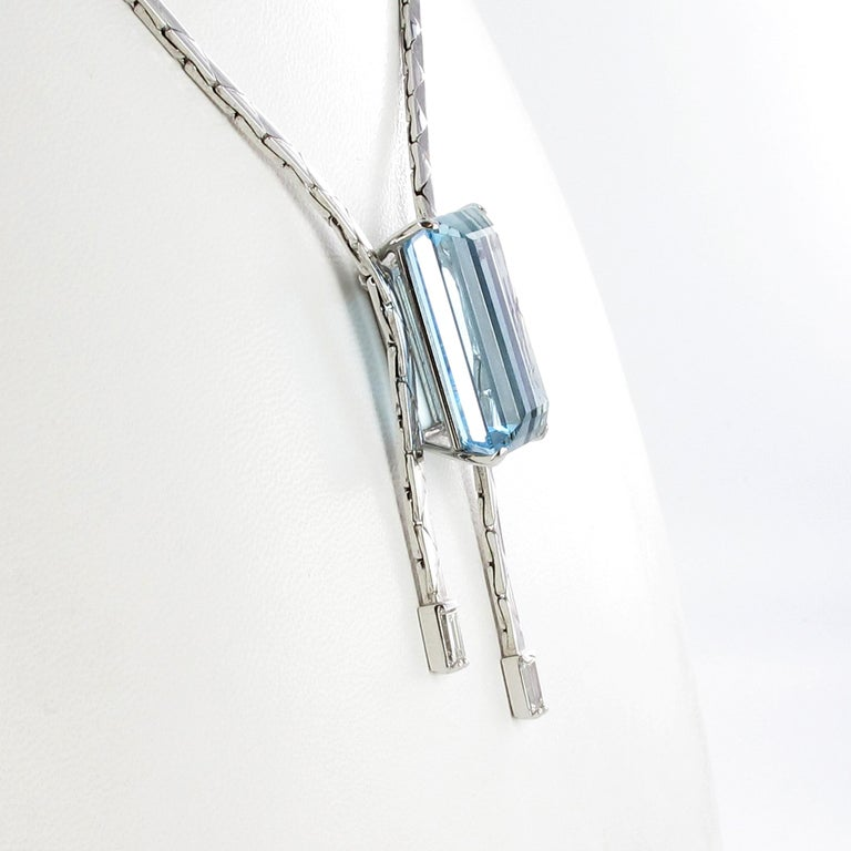 Emerald Cut Aquamarine and Diamond Necklace in 18 Karat White Gold For Sale