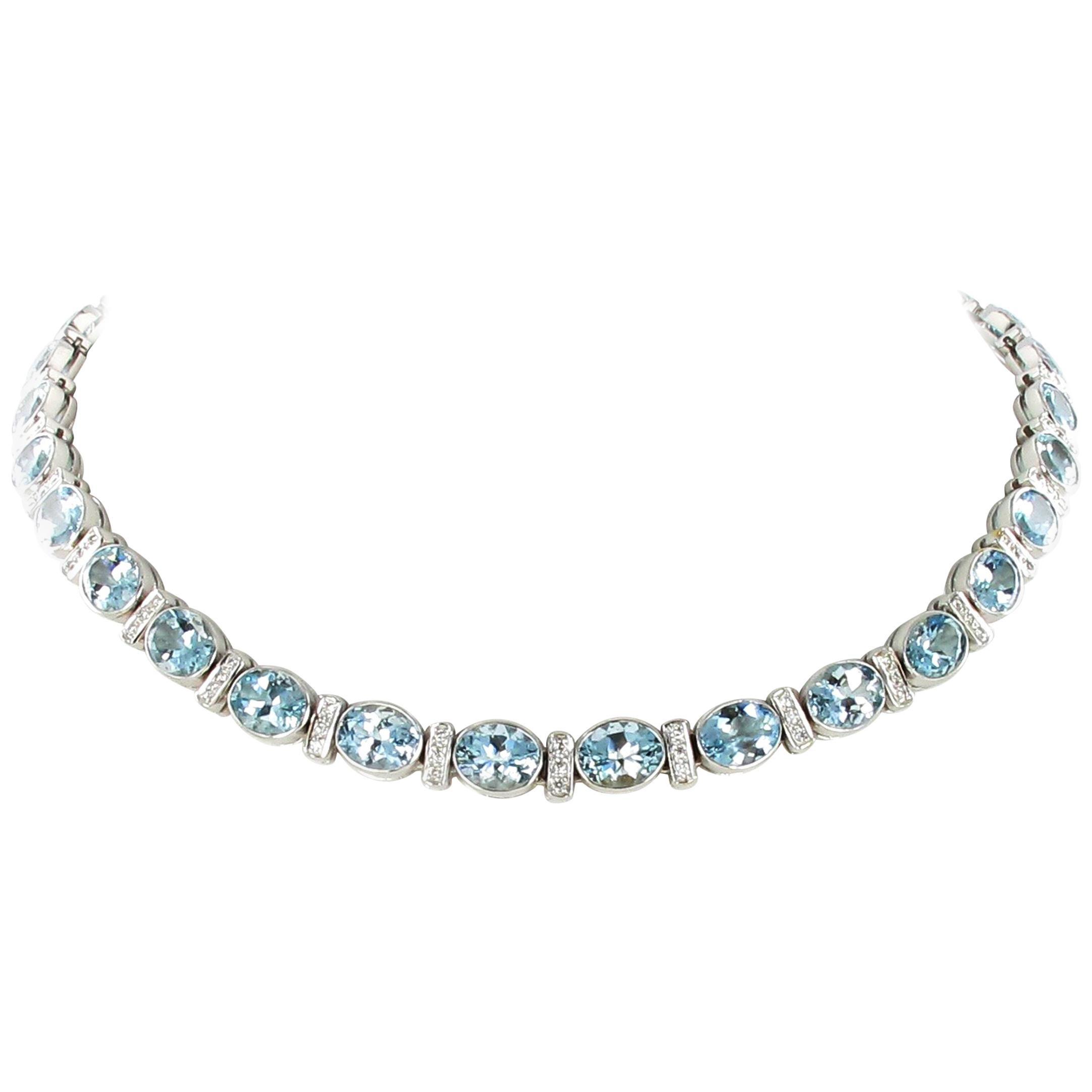 Aquamarine and Diamond Necklace in 18 Karat White Gold