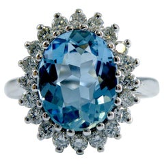 Aquamarine and Diamond Oval Cluster Ring