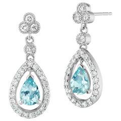 Aquamarine and Diamond Pear Shape Drop Earrings in 14 Karat