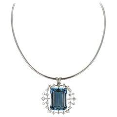 Aquamarine and Diamond Pendant/Brooch in 18 Karat White Gold by J. F. Neukomm