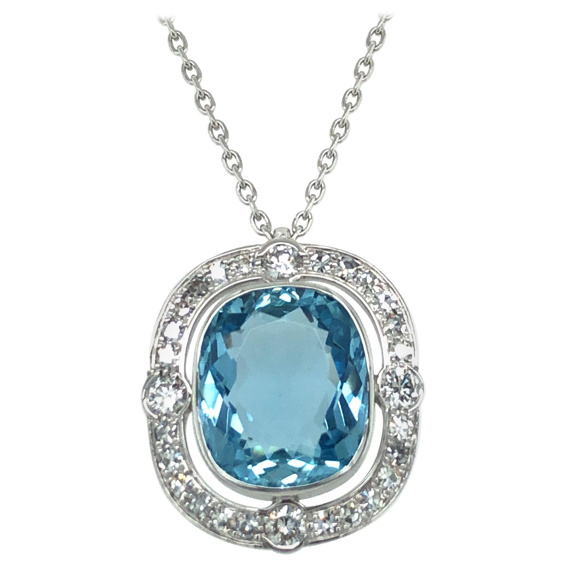 Aquamarine and Diamond Pendant Necklace in Platinum 950 and 18 Karat White Gold
