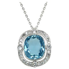 Aquamarine and Diamond Pendant Necklace in Platinum 950 and 18 Karat White Gold