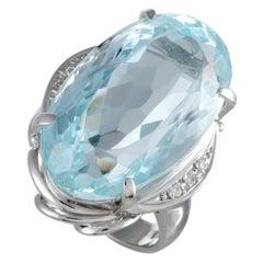 Aquamarine and Diamond Platinum Cocktail Ring