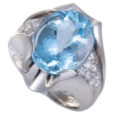 Aquamarine and Diamond Platinum Cocktail Ring