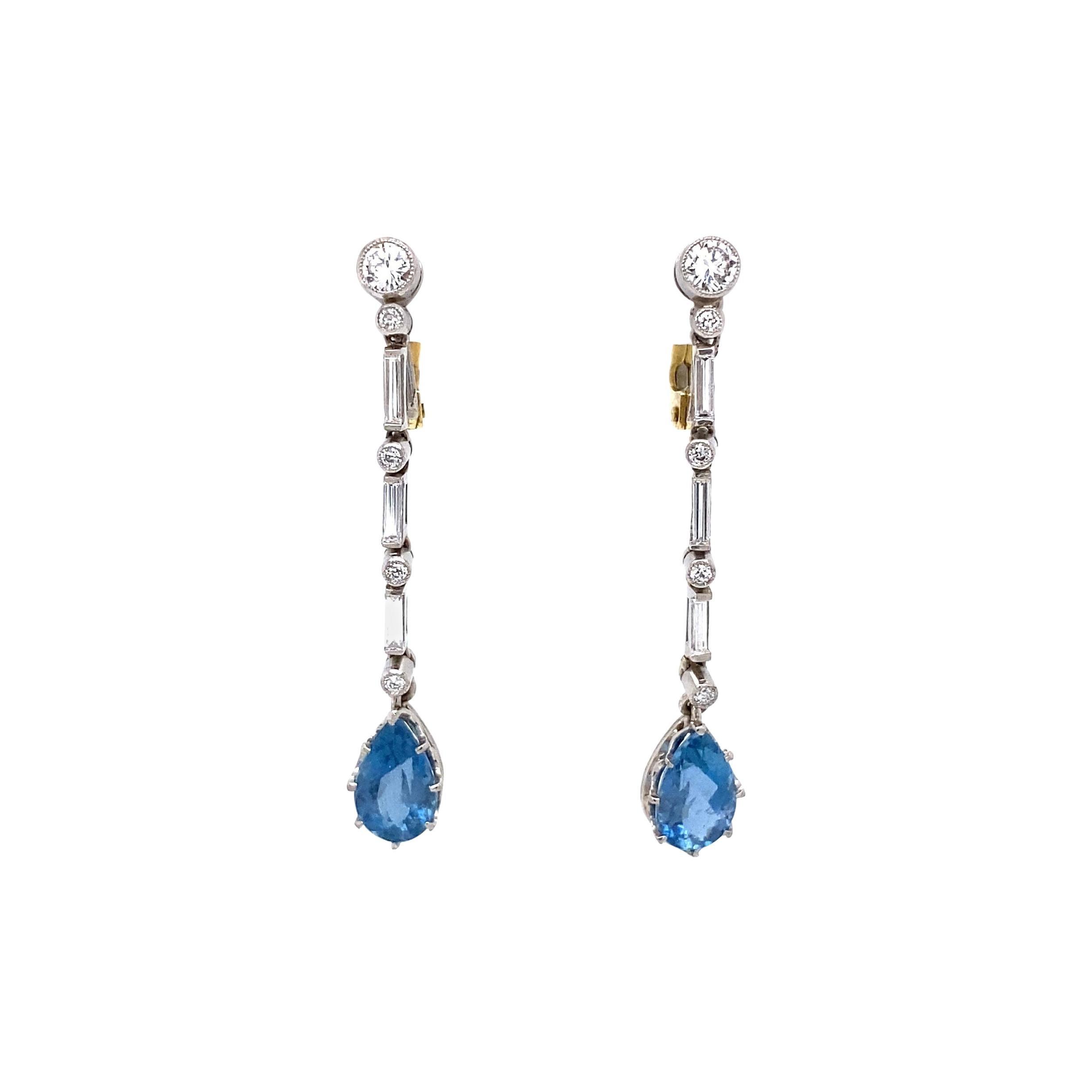 Aquamarine and Diamond Platinum Drop Earrings Estate Fine Jewelry