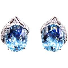 Aquamarine and Diamond Platinum Earrings