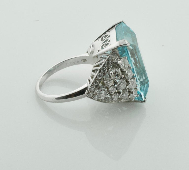 Emerald Cut Aquamarine and Diamond Platinum Ring 20.00 Carat For Sale