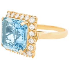 Aquamarine and Diamond Ring 14 Karat, circa 1950s, American