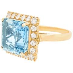 Aquamarine and Diamond Ring 14 Karat, circa 1950s, American