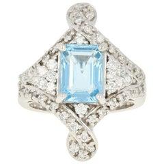 Aquamarine and Diamond Ring, 14 Karat White Gold Women's 3.00 Carat