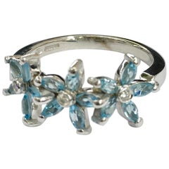 18 Carat White Gold Aquamarine and Diamond Ring