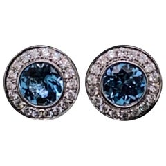 Aquamarine and Diamond Round Cluster Stud Earrings 18 Karat White Gold