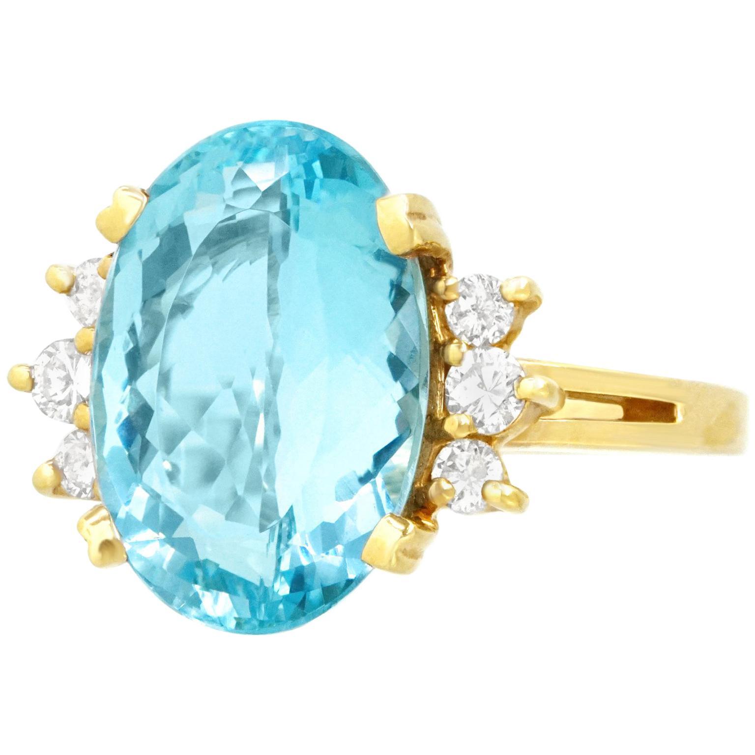 Aquamarine and Diamond Set Gold Ring