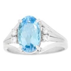 Aquamarine and Diamond-Set Platinum Ring