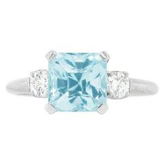 Aquamarine and Diamond-Set Platinum Ring Retro Fifties
