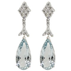 Aquamarine and Diamond White Gold Drop Earrings