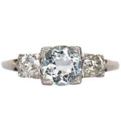 Aquamarine and Diamond White Gold Engagement Ring