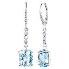 Aquamarine and Diamond White Gold Hoop Drop Earrings
