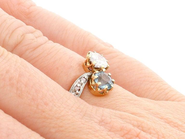 Antique Aquamarine and Diamond Yellow Gold Twist Ring, Circa 1900 For Sale 2