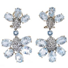 Aquamarine Diamonds Rose Gold Dangling Earrings