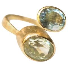 Aquamarine and Green Beryl 18 Karat Gold Ring Handmade by Disa Allsopp