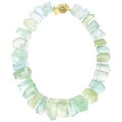 Susan Lister Locke Aquamarine and Green Beryl Plate Necklace with 18K Gold Clasp