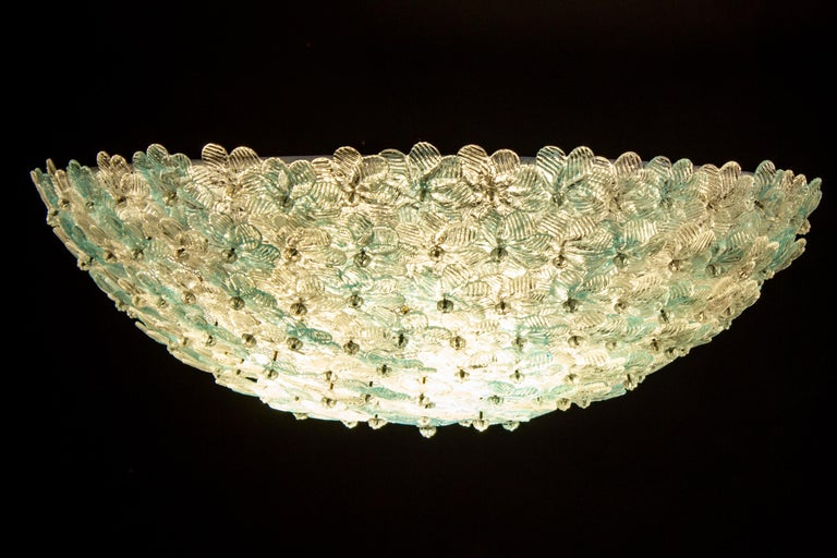 Aquamarine and Ice Murano Glass Flowers Basket Ceiling Light by Barovier & Toso For Sale 3