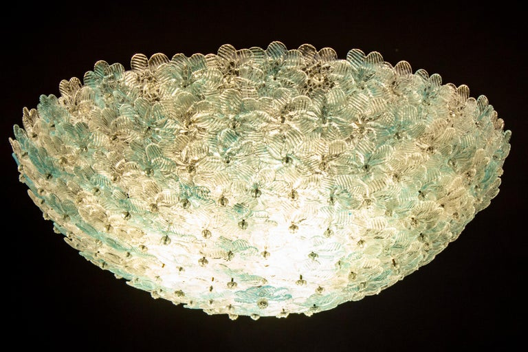 Aquamarine and Ice Murano Glass Flowers Basket Ceiling Light by Barovier & Toso For Sale 4