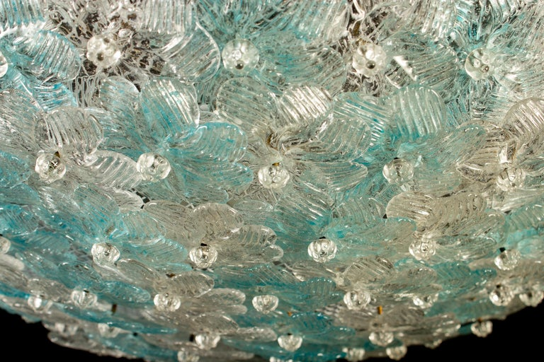 Aquamarine and Ice Murano Glass Flowers Basket Ceiling Light by Barovier & Toso In Excellent Condition For Sale In Rome, IT