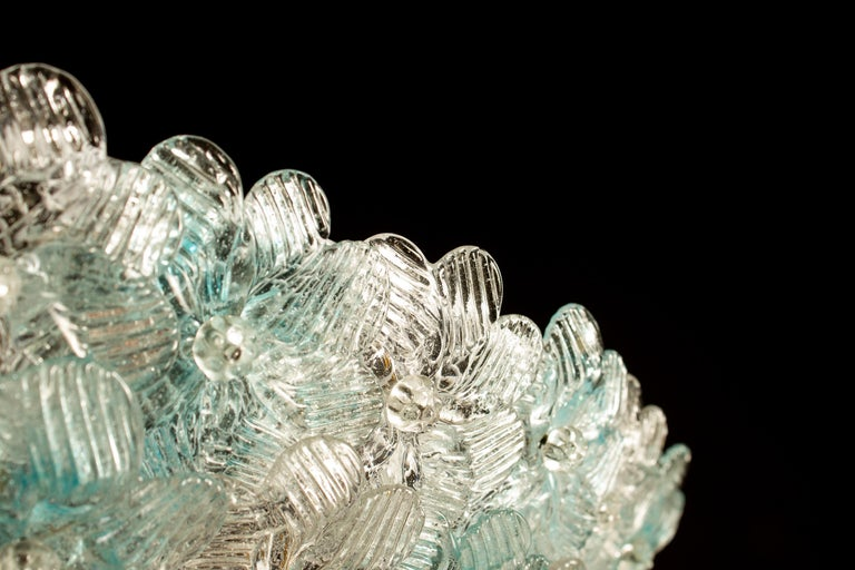 Mid-20th Century Aquamarine and Ice Murano Glass Flowers Basket Ceiling Light by Barovier & Toso For Sale