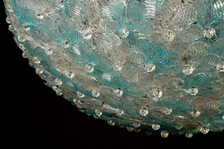 Blown Glass Aquamarine and Ice Murano Glass Flowers Basket Ceiling Light by Barovier & Toso For Sale