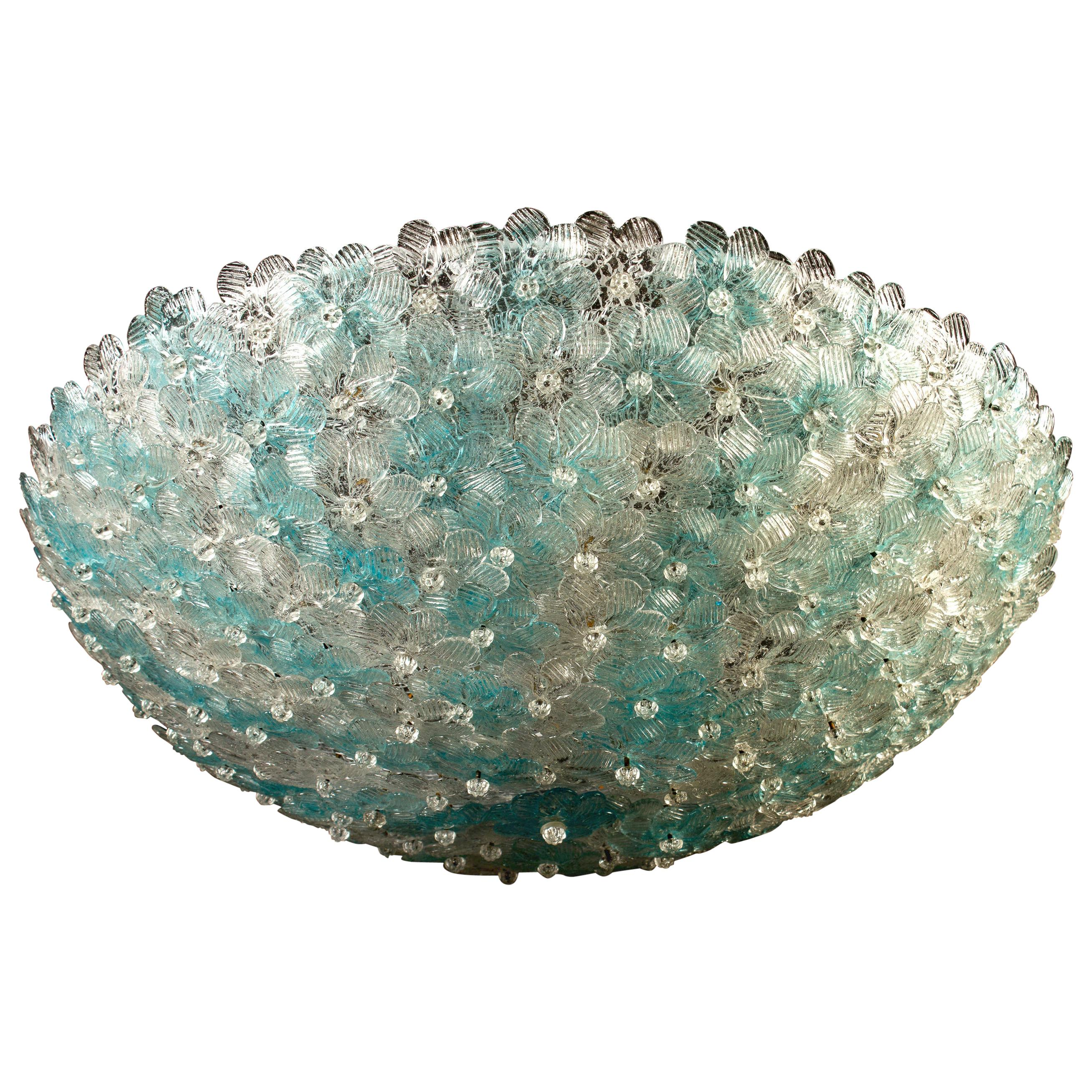 Aquamarine and Ice Murano Glass Flowers Basket Ceiling Light by Barovier & Toso