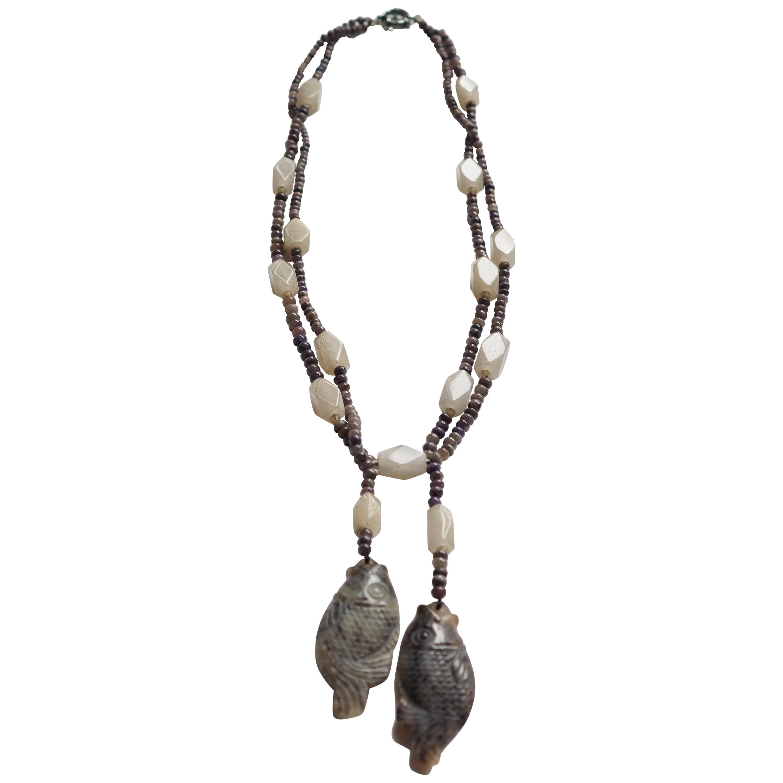 Aquamarine and Jade Necklace Silver