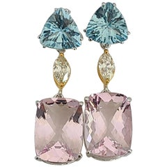Aquamarine and Morganite Earrings in 18 Karat Gold with Diamonds