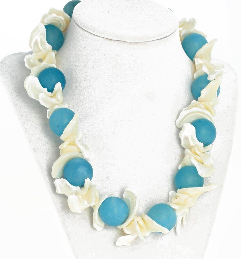 Aquamarine and Pearl Shell Necklace In New Condition For Sale In Tuxedo Park , NY