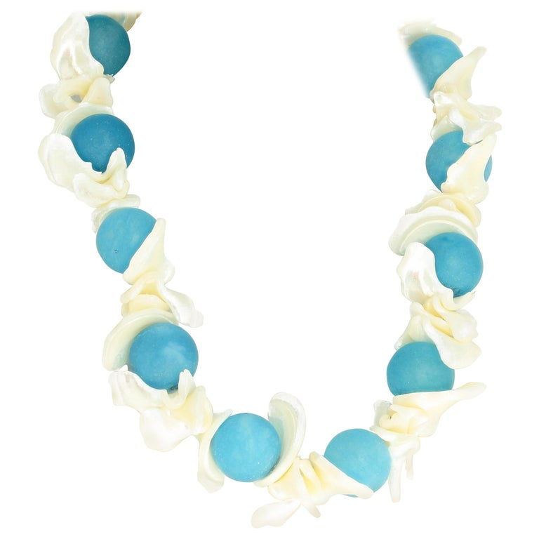Aquamarine and Pearl Shell Necklace For Sale