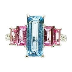 Aquamarine and Pink Sapphire with Diamond Ring Set in 18 Karat White Gold