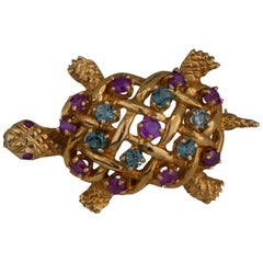 Aquamarine and Ruby, Turtle Pin, 1.60 Carat Gems, Yellow