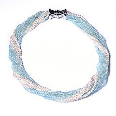 Aquamarine and Seed Pearl 10-Strand Toursade Necklace 18 Karat Gold Clasp
