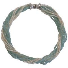 Aquamarine and Seed Pearl 10-Strand Toursade Necklace 18 Karat Gold Clasp