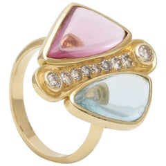 Aquamarine and Spinel Cabochon Ring with Diamonds Handcrafted in 18k Yellow Gold